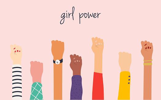 Frauenhände Girl Power Feminismus Symbol Stock Vektor Art und mehr Bilder von Abzeichen
