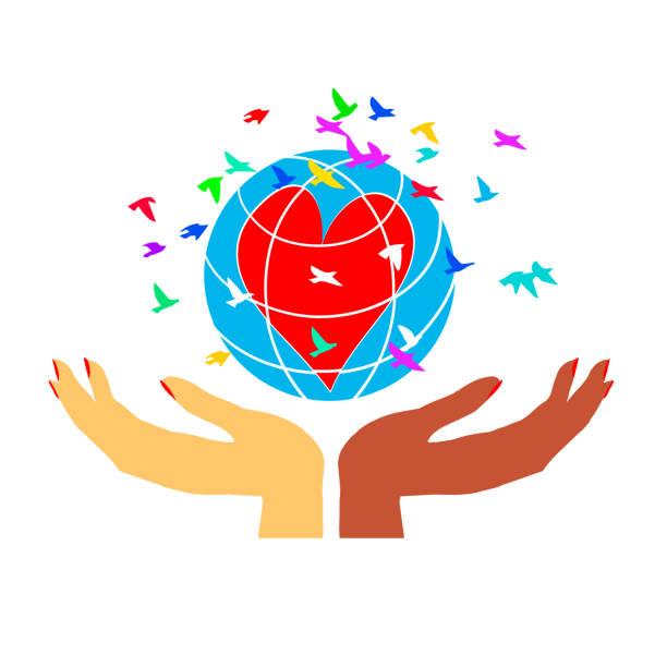 illustrazioni stock, clip art, cartoni animati e icone di tendenza di women's hands hold the globe with a heart. - mano donna dita unite