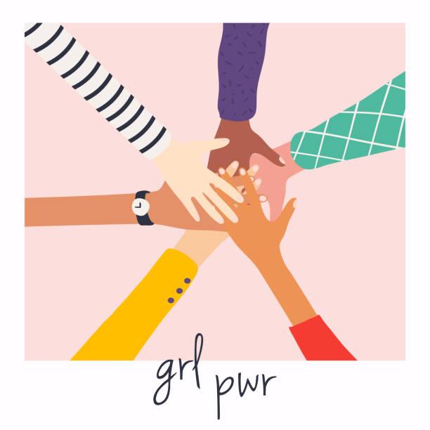 stockillustraties, clipart, cartoons en iconen met vrouwenhanden bovenop elkaar. meisje macht. feminisme symbool. - schoolmeisje