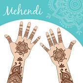 Women's hands, palms up. Mehendi.