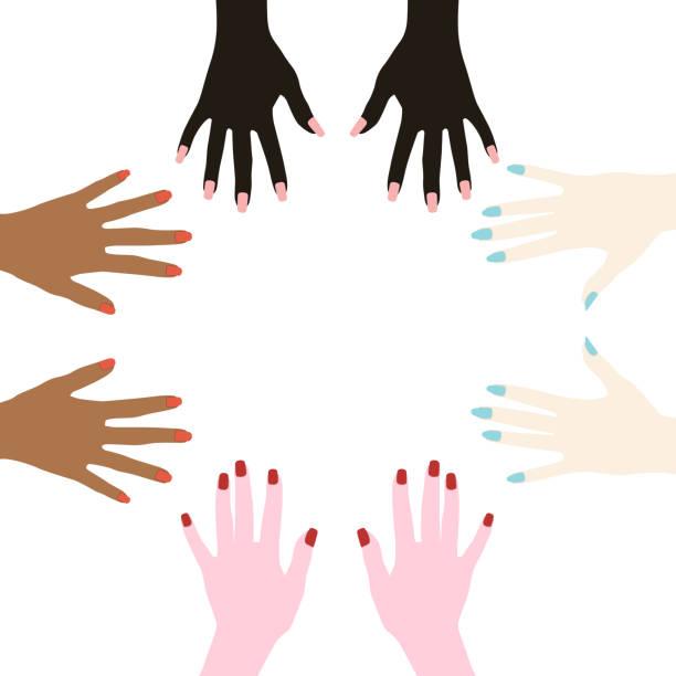 illustrazioni stock, clip art, cartoni animati e icone di tendenza di women's hands with painted nails. racial diversity. one-color manicure. vector illustration isolated on a white background for design and web. - mano donna dita unite