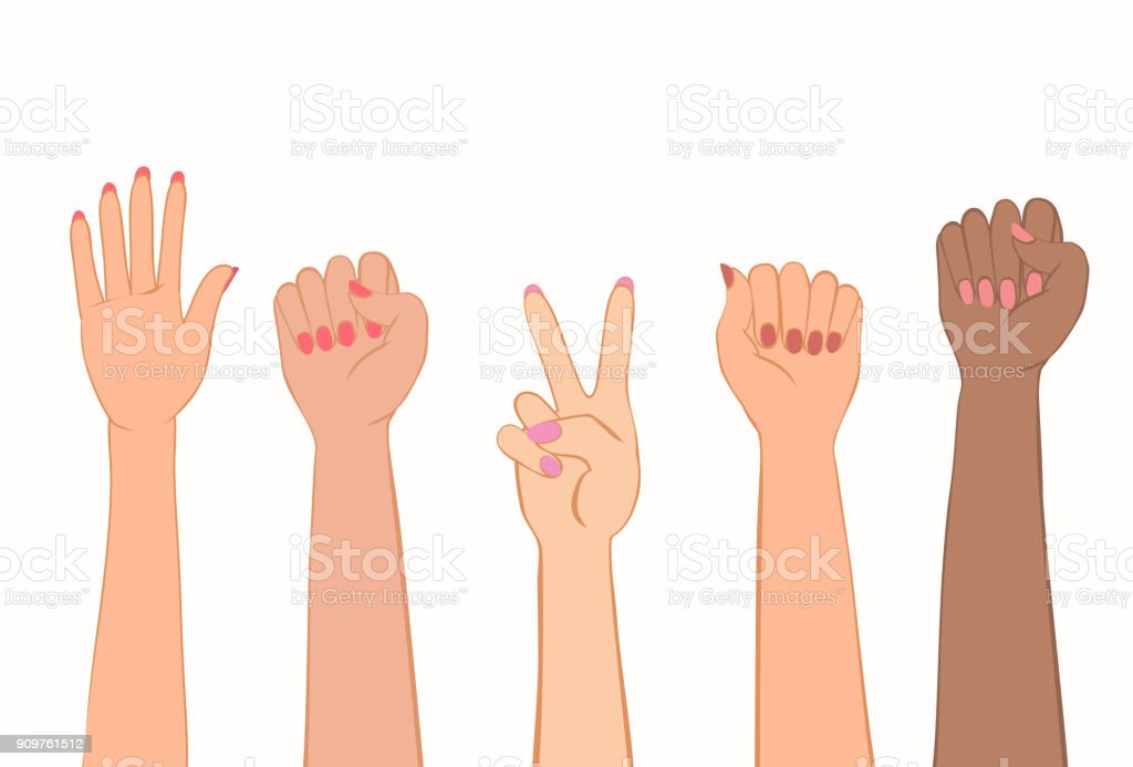 Women's hands with painted nails. vector art illustration