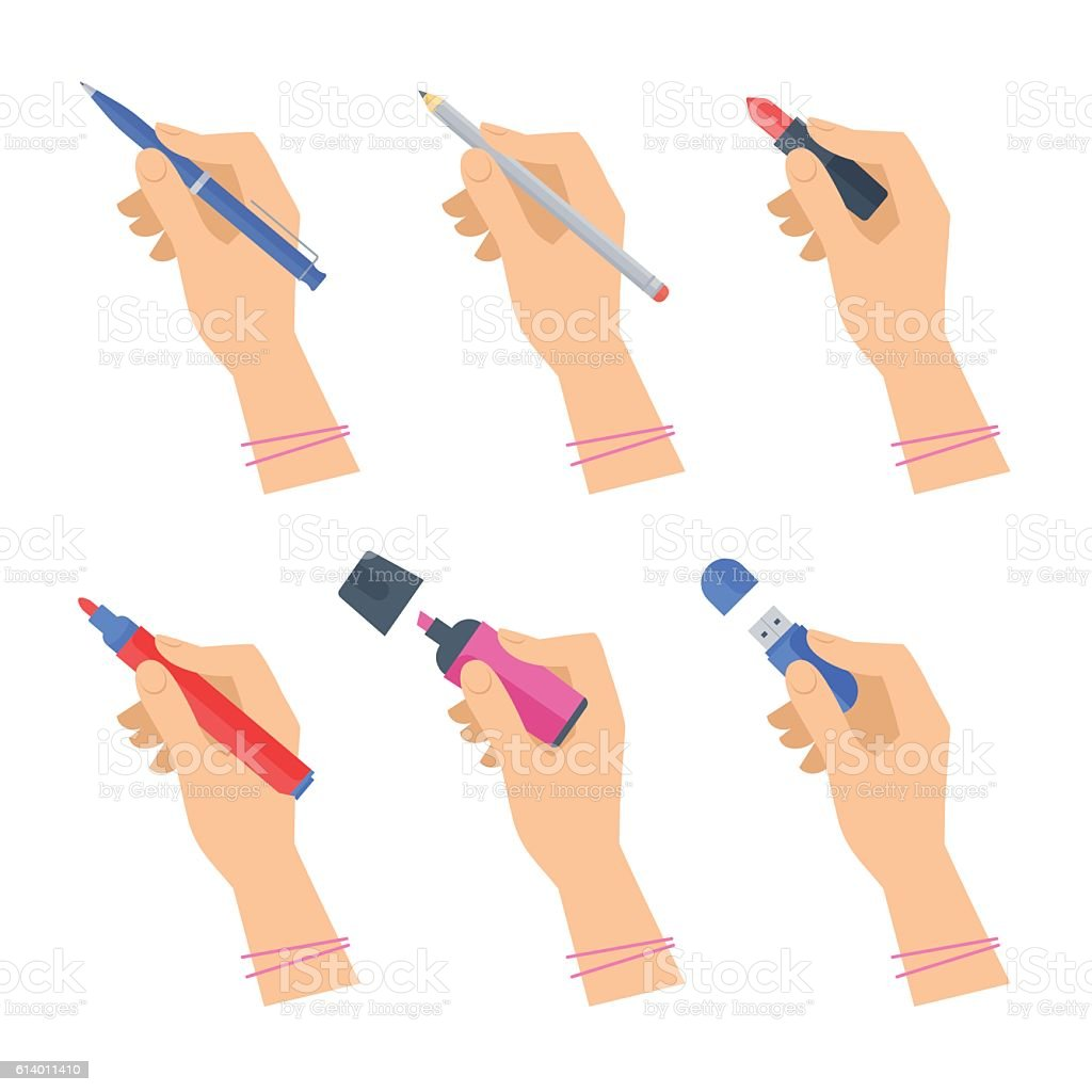 Women's hands with writing tools and office supplies set.