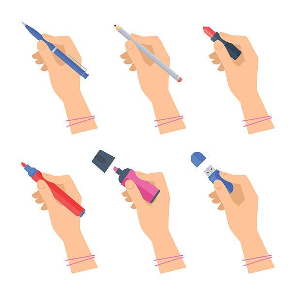 damskie ręce z narzędziami do pisania i zestawem materiałów biurowych. - pióro przyrząd do pisania stock illustrations