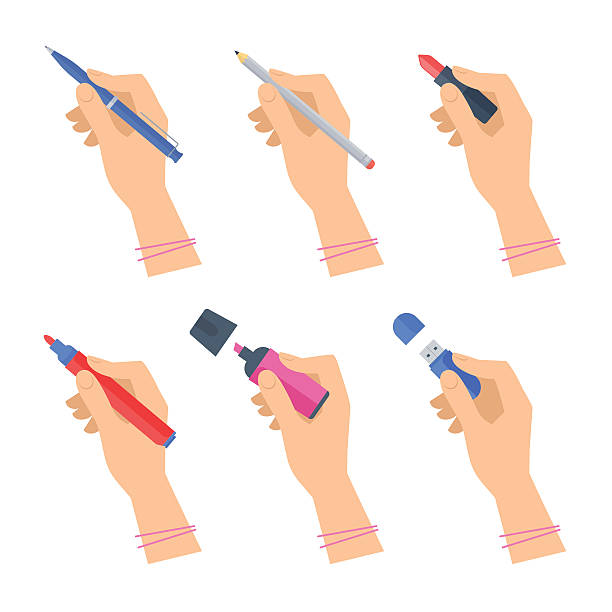 Women's hands with writing tools and office supplies set. Women's hands with writing tools and office supplies set. Flat illustration of human female hands with pen, pencil, highlighter and over stationery. Vector isolated on white background design element. writing activity stock illustrations