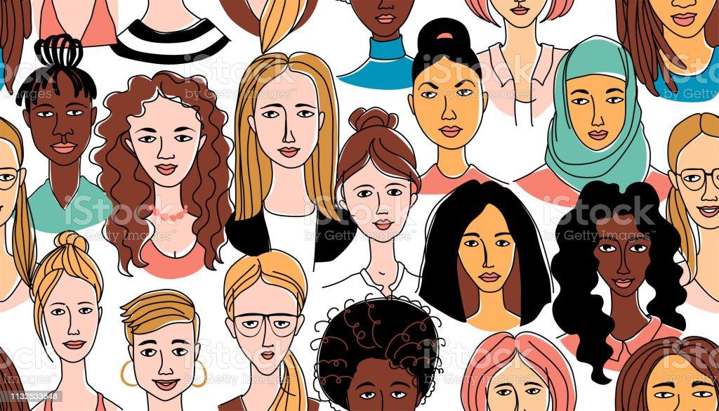 여자의 머리 배경 그런 지 선 그림 낙서 포스터 완벽 한 패턴 - 로열티 프리 개성-개념 벡터 아트