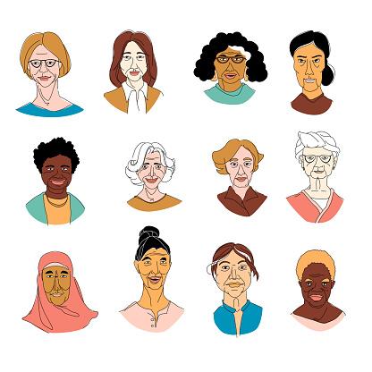 Women's head portraits grunge line drawing set doodle poster clipart