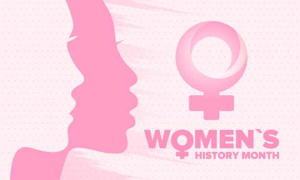 Women's History Month. Celebrated annual in March, to mark women's contribution to history. Female symbol. Women's rights. Girl power in world. Poster, postcard, banner. Vector illustration vector art illustration