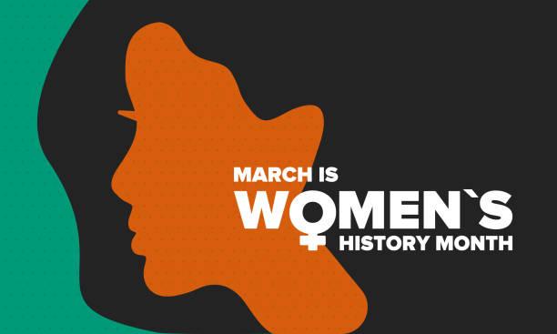 stockillustraties, clipart, cartoons en iconen met women's history month. gevierd jaarlijks in maart, ter gelegenheid van de bijdrage van vrouwen aan de geschiedenis. vrouwelijk symbool. vrouwenrechten. meisjeskracht in de wereld. poster, ansichtkaart, spandoek. vectorillustratie - geschiedenis