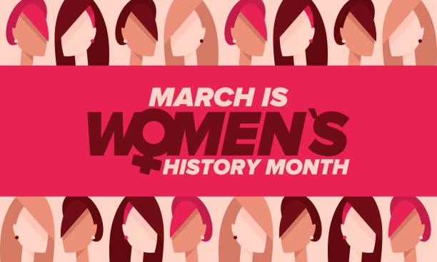 Women's History Month. Celebrated annual in March, to mark women's contribution to history. Female symbol. Women's rights. Girl power in world. Poster, postcard, banner. Vector illustration Women's History Month. Celebrated annual in March, to mark women's contribution to history. Female symbol. Women's rights. Girl power in world. Poster, postcard, banner. Vector illustration month stock illustrations