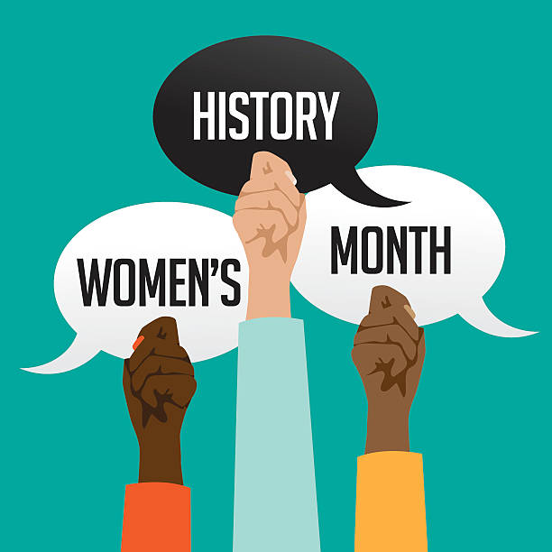 Women's history month design with multicultural hands Women's history month design with multicultural hands holding speech bubbles. EPS 10 month stock illustrations