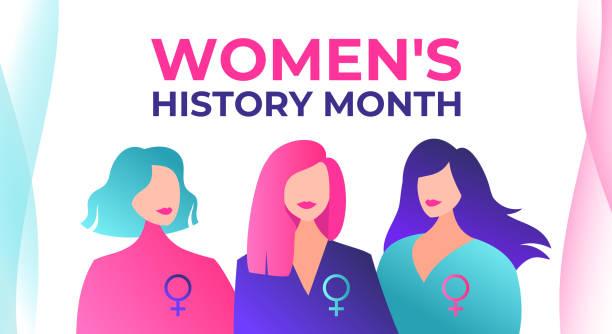 stockillustraties, clipart, cartoons en iconen met women's history month wordt gevierd in maart. drie mooie feministische vrouwen met vrouwelijke symbolen. women's history month wordt gevierd in de vs, het verenigd koninkrijk, australië en canada. vrouwen krijgen rechten. - geschiedenis