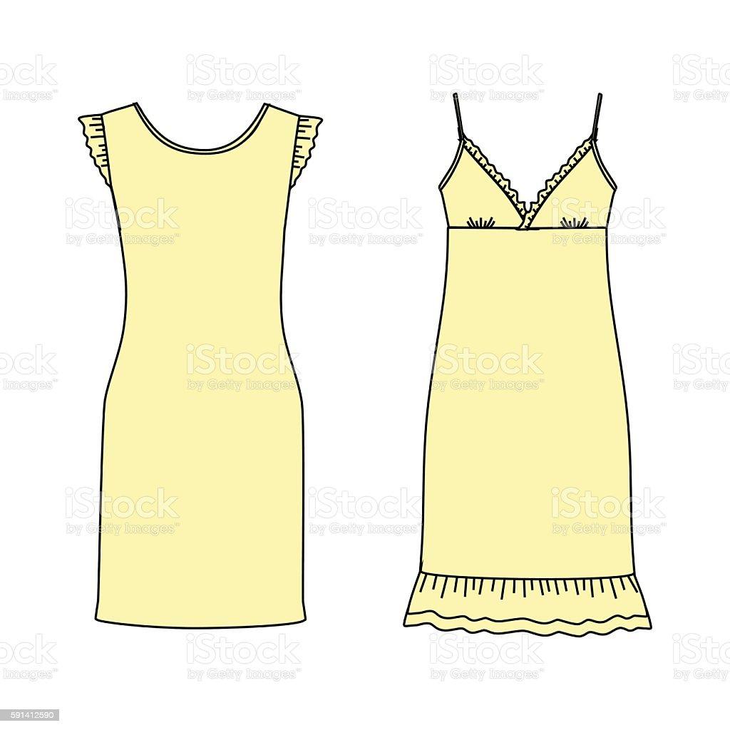 Women's homewear. nightdress. nightie. house dress. jersey dress vector art illustration