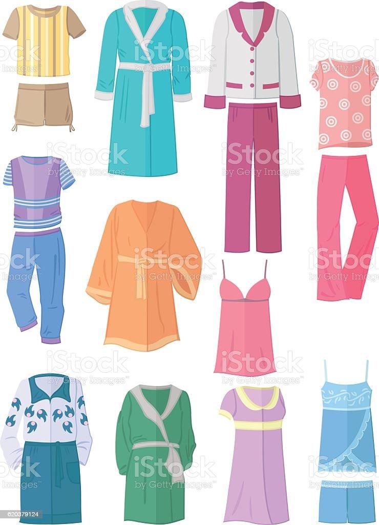 Women's household clothing in flat design womens household clothing in flat design - arte vetorial de stock e mais imagens de adulto royalty-free