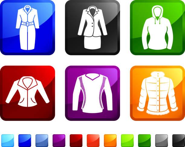 stockillustraties, clipart, cartoons en iconen met women's jackets and tops royalty free vector icon set stickers - men blazer