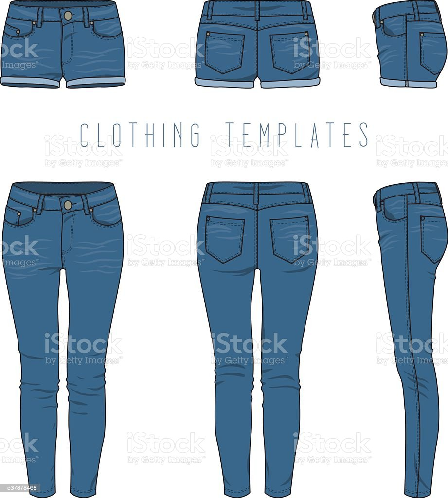 Women's jeans and shorts. vector art illustration