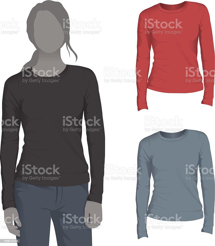 Womens Long Sleeve Tshirt Mockup Template Stock Vector Art & More ...