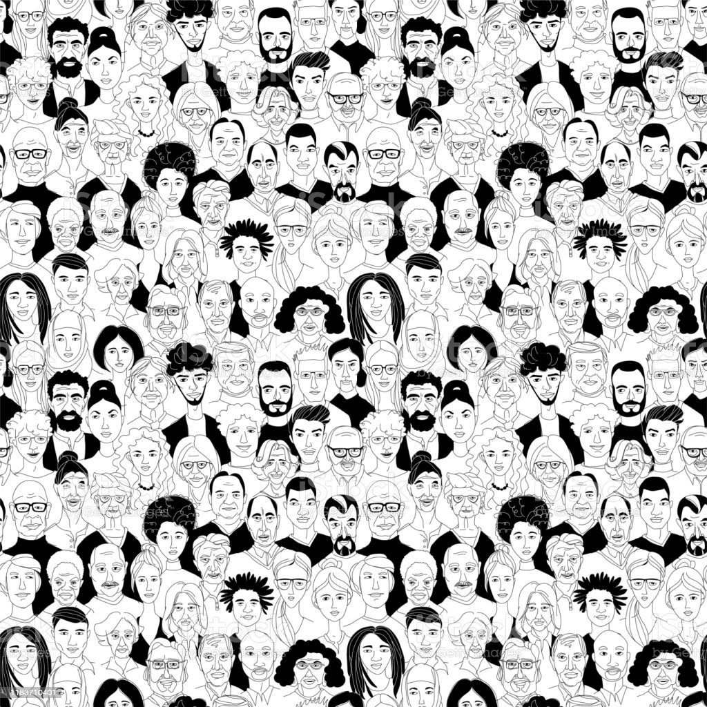 Vrouwen mannen hoofd portretten lijntekening doodle poster naadloze patroon - Royalty-free Achtergrond - Thema vectorkunst