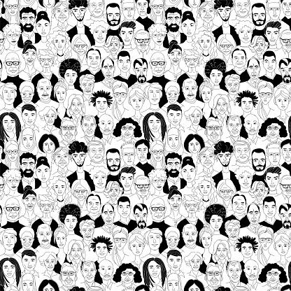 Vrouwen Mannen Hoofd Portretten Lijntekening Doodle Poster Naadloze Patroon Stockvectorkunst en meer beelden van Achtergrond - Thema