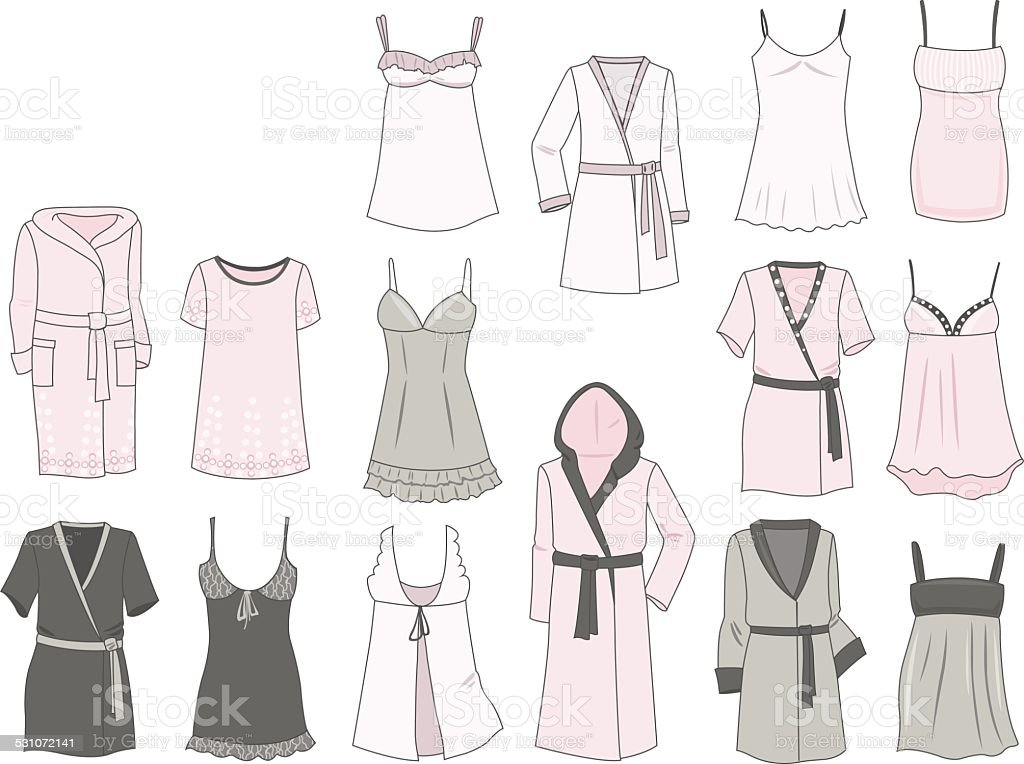 Women's negligees and robes vector art illustration