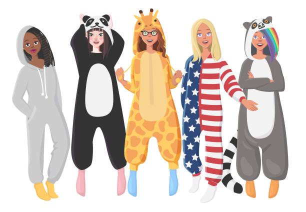 frauen plüsch einteilige schlafanzüge - giraffenkostüm stock-grafiken, -clipart, -cartoons und -symbole