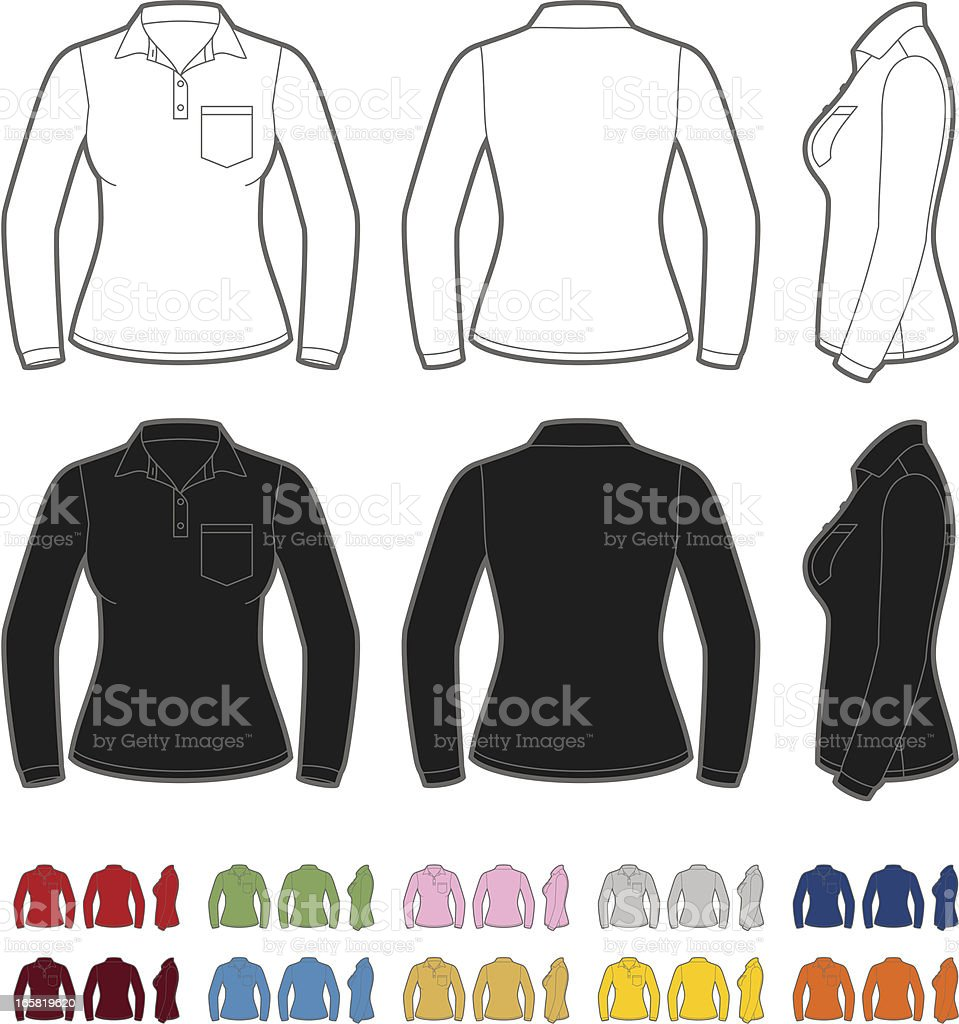 Women's polo shirt with long sleeve vector art illustration