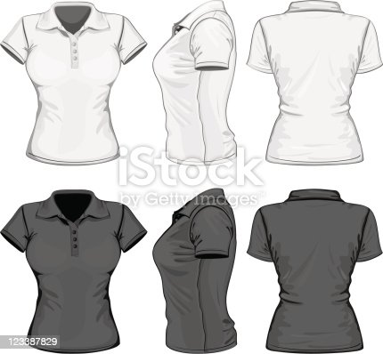 Womens poloshirt design template stock vector art for Polo shirt design template
