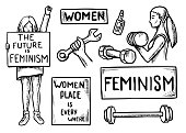 Womens power feminism vector doodles set