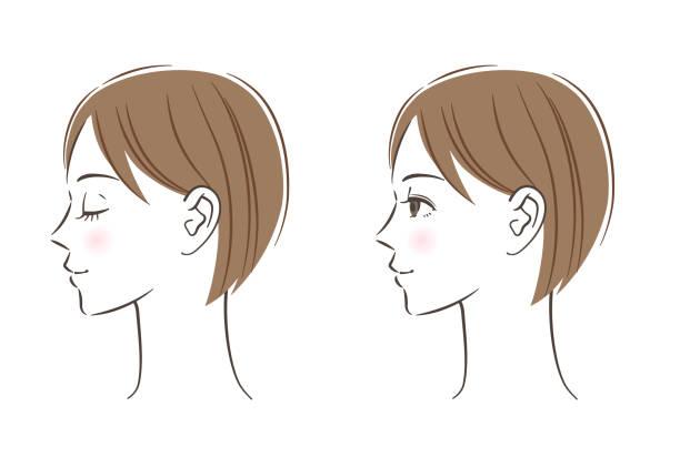 illustrazioni stock, clip art, cartoni animati e icone di tendenza di women's profile set, closed eyes, open eyes - smile woman open mouth