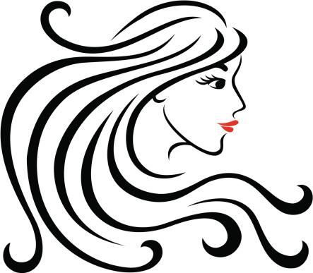Profilo Di Donna Con Capelli Lunghi - Immagini vettoriali ...