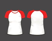 Womens raglan t-shirt in front and back views. Vector template. Fully editable handmade mesh. EPS 10