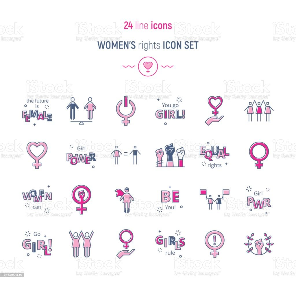 Womens right color icon set vector art illustration
