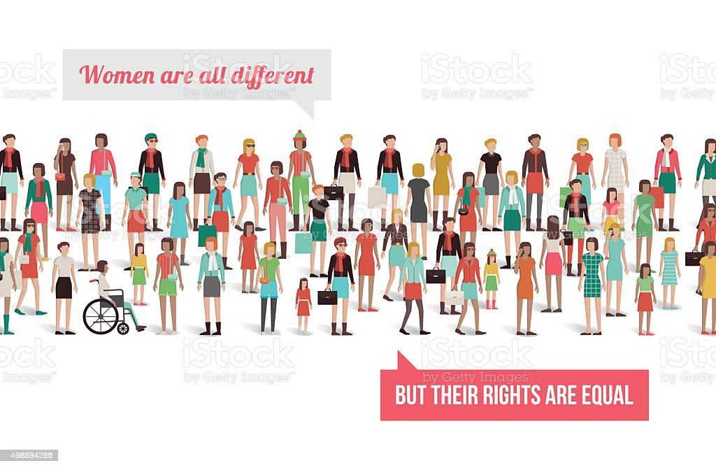 Women's rights banner vector art illustration