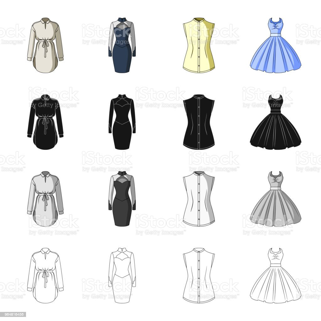 Women's robe, evening dress, vest clothing, ball gown. Women's clothing set collection icons in cartoon black monochrome outline style vector symbol stock illustration web. royalty-free womens robe evening dress vest clothing ball gown womens clothing set collection icons in cartoon black monochrome outline style vector symbol stock illustration web stock vector art & more images of adult
