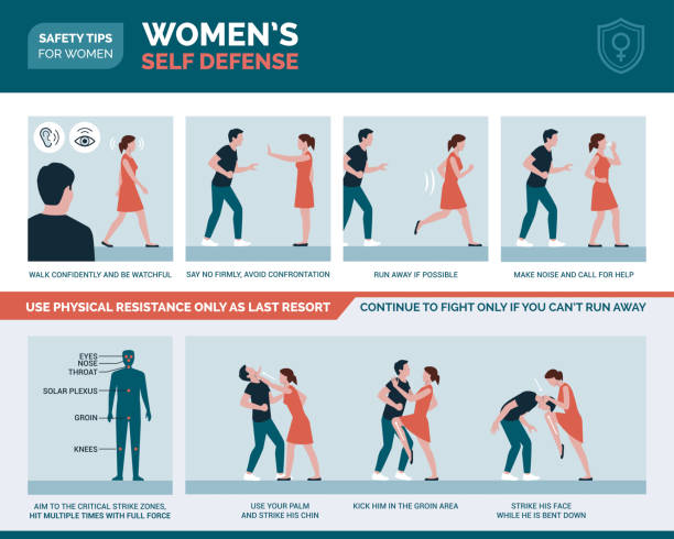 women's self defense advice and protection - domestic violence stock illustrations