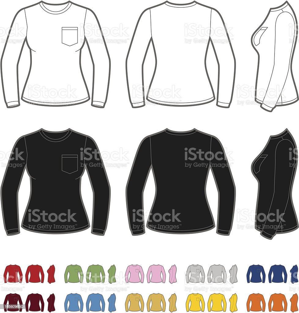 Women's shirt with long sleeve royalty-free stock vector art