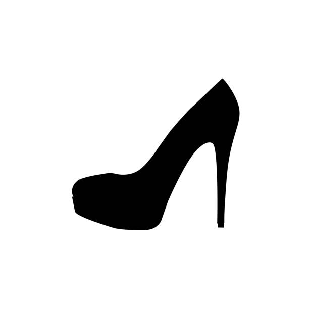 women's shoe icon on white background - wysokie obcasy stock illustrations