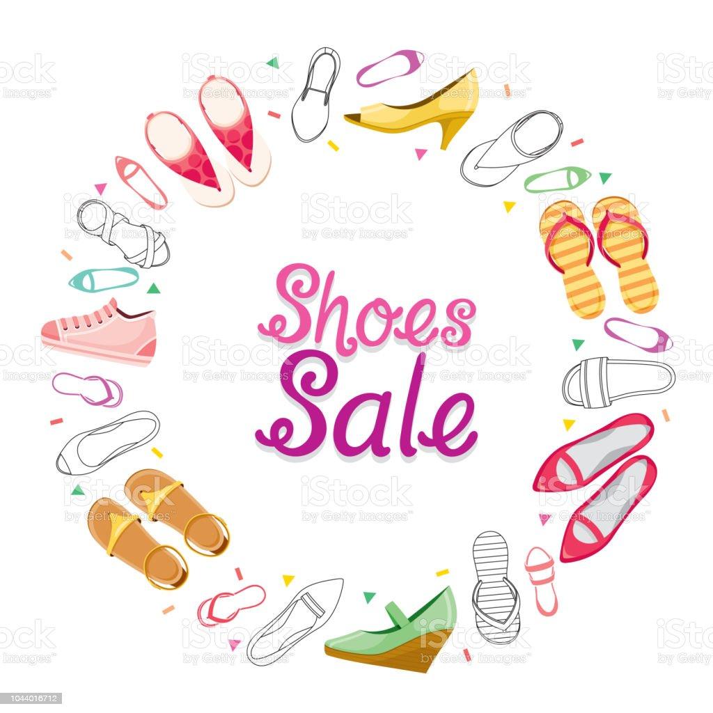 Damen Schuhe Sale Auf Kreis Rahmen Stock Vektor Art und mehr Bilder ...