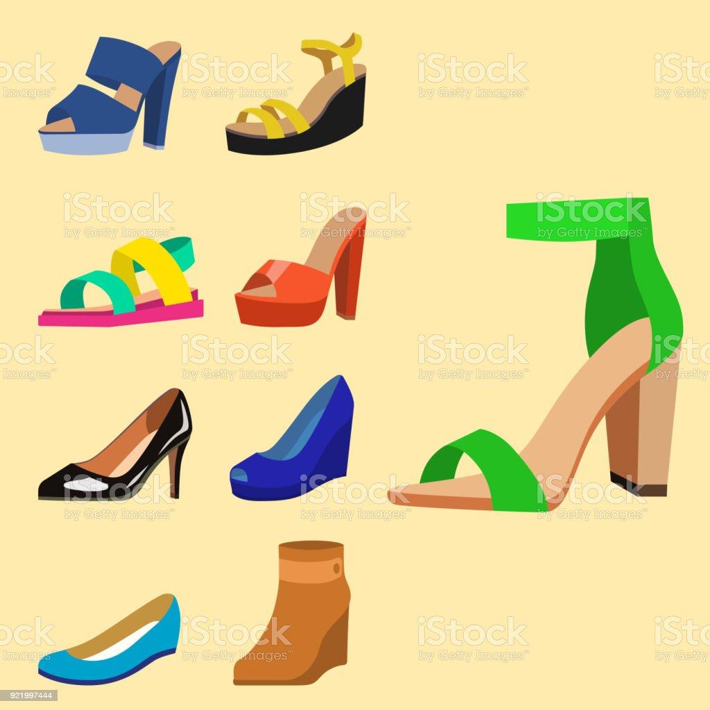 49a7f615 Zapatos de mujer vector diseño de moda plano colección de cuero mocasines  de color ilustración de