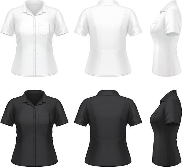 Women's short sleeve dress shirt vector art illustration
