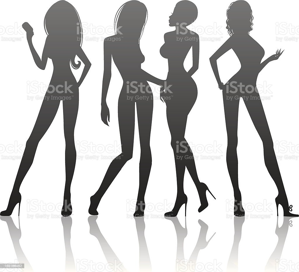 Womens silhouette vector art illustration