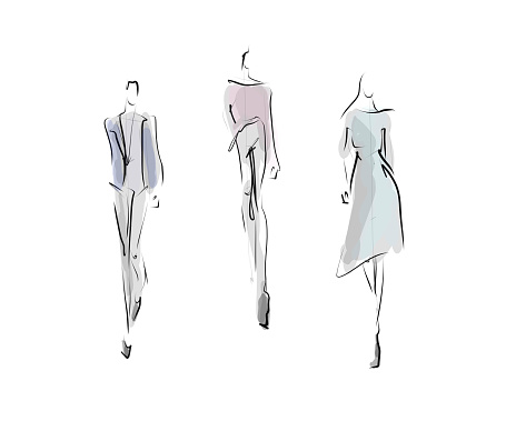 Womens Silhouettes In Clothes Fashion Sketches Stock Illustration Download Image Now Istock