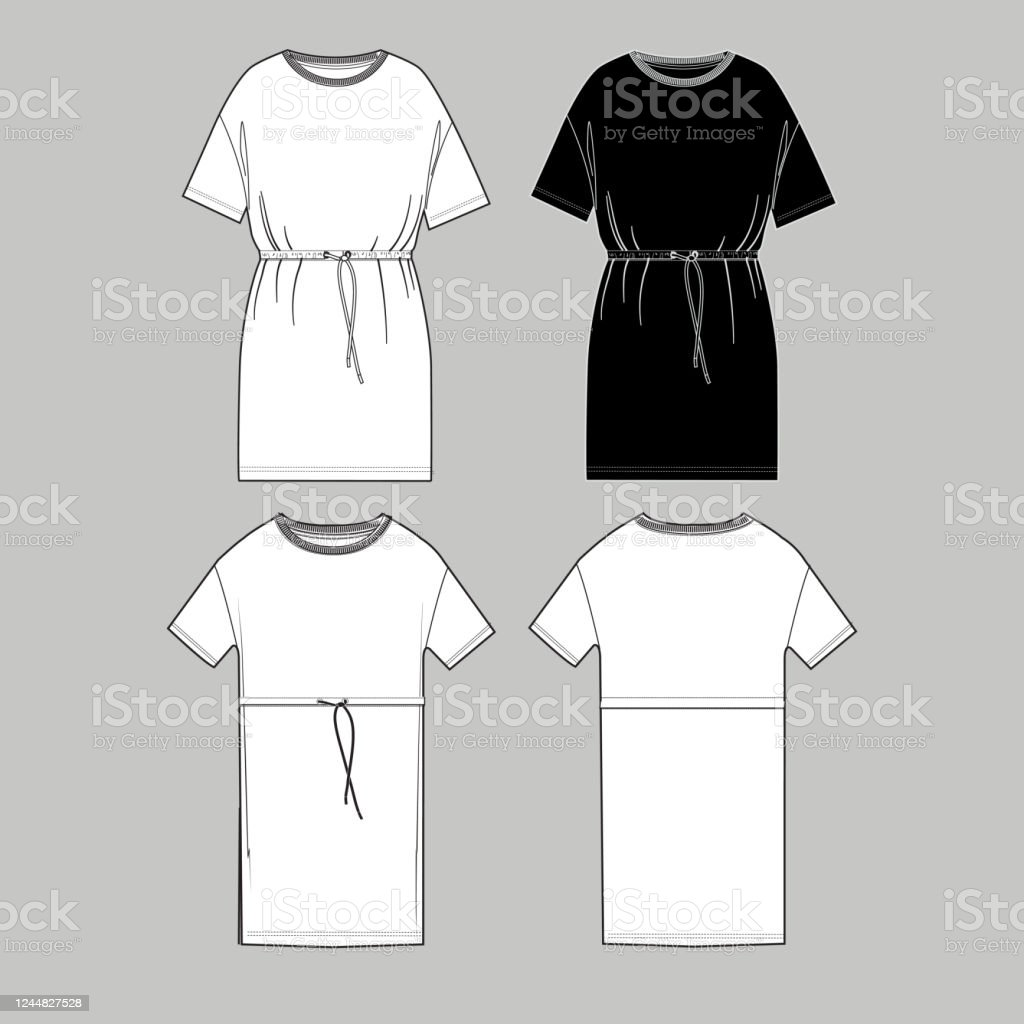 Womens Simple Long Tshirt Design Apparel Template Fashion Flat Sketch Vector Stock Illustration Download Image Now Istock