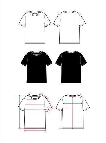 women's simple t-shirt design. Apparel template, Fashion Flat Sketch vector.
