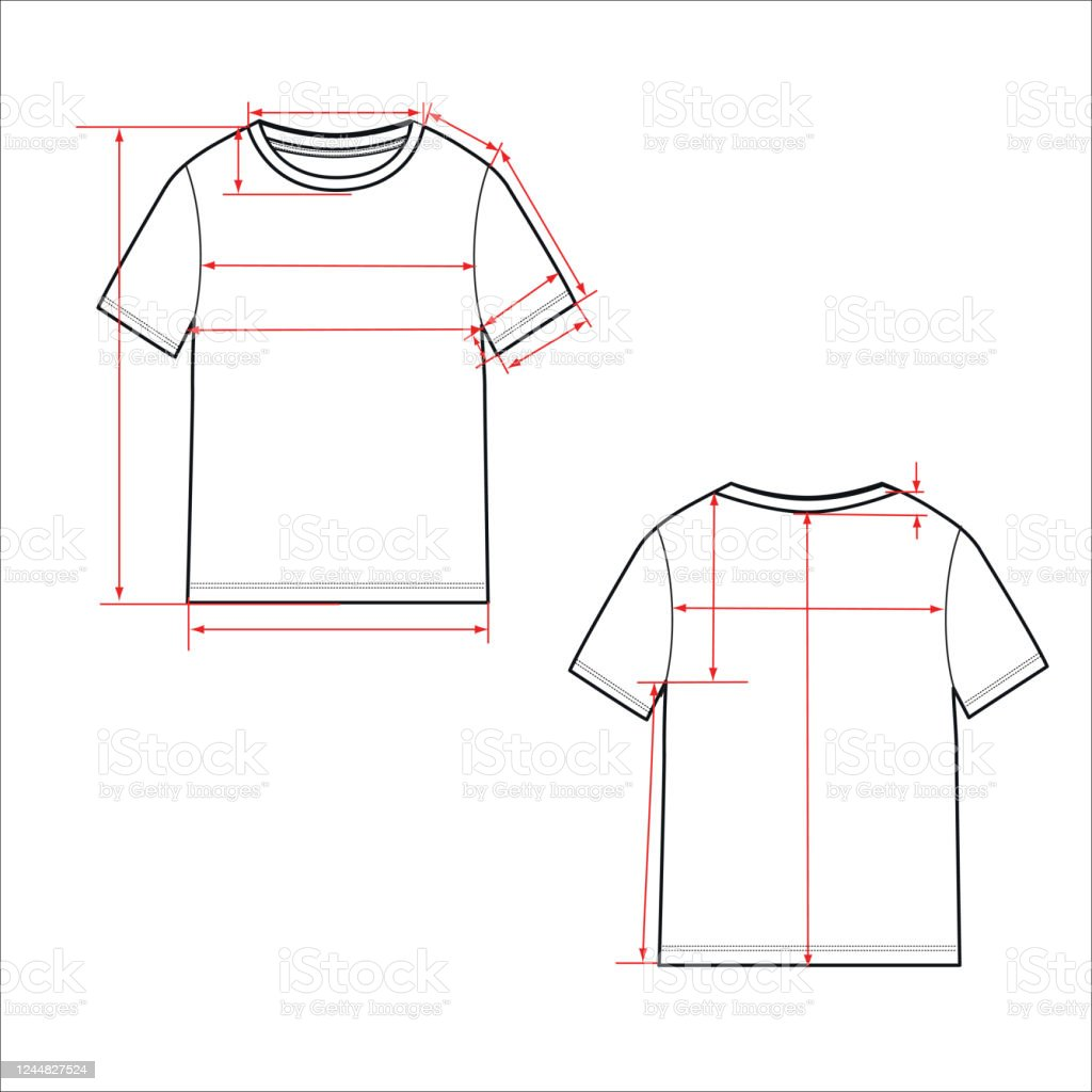 Womens Simple Tshirt Design Apparel Template Fashion Flat Sketch Vector Stock Illustration Download Image Now Istock