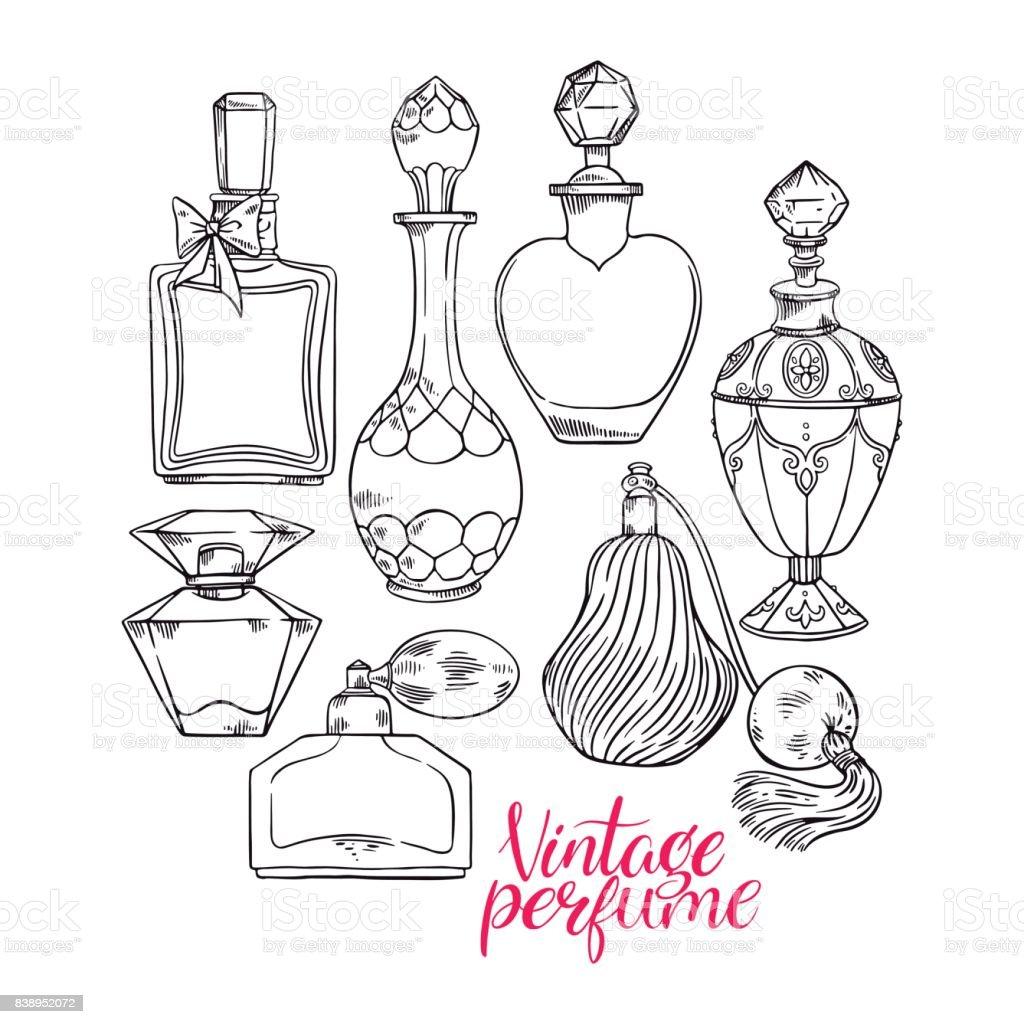 Womens esboçar os frascos de perfume - ilustração de arte em vetor