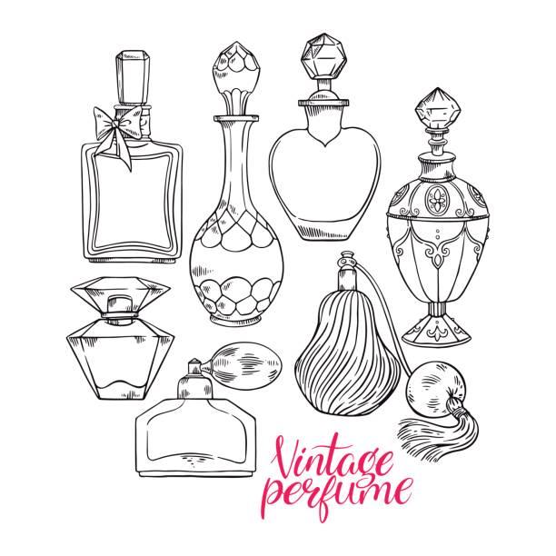 womens sketch perfume bottles - perfumy stock illustrations