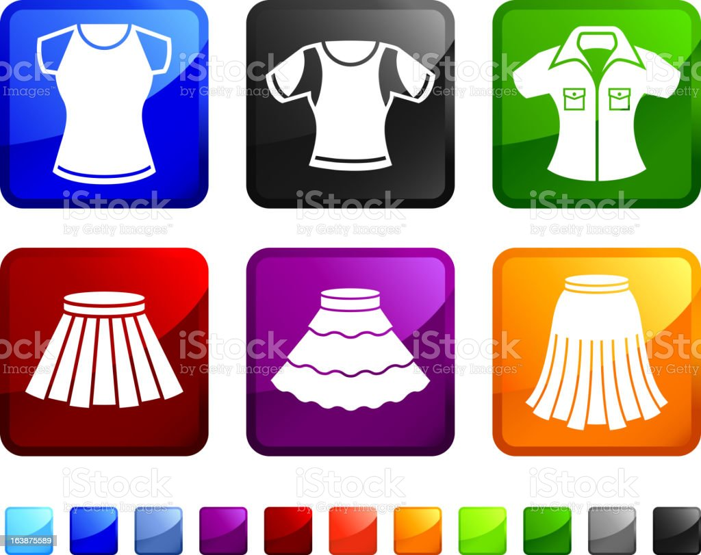 Women's Skirts and Tops royalty free vector icon set stickers royalty-free stock vector art