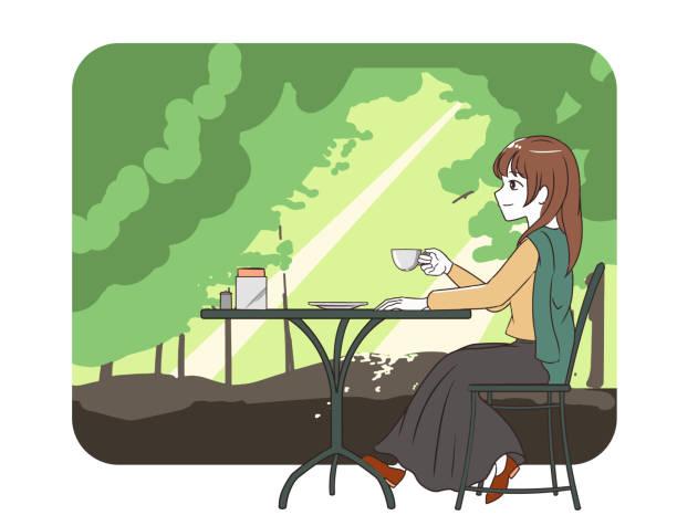 illustrazioni stock, clip art, cartoni animati e icone di tendenza di women's skirts spending time in a cafe forest - forest bathing