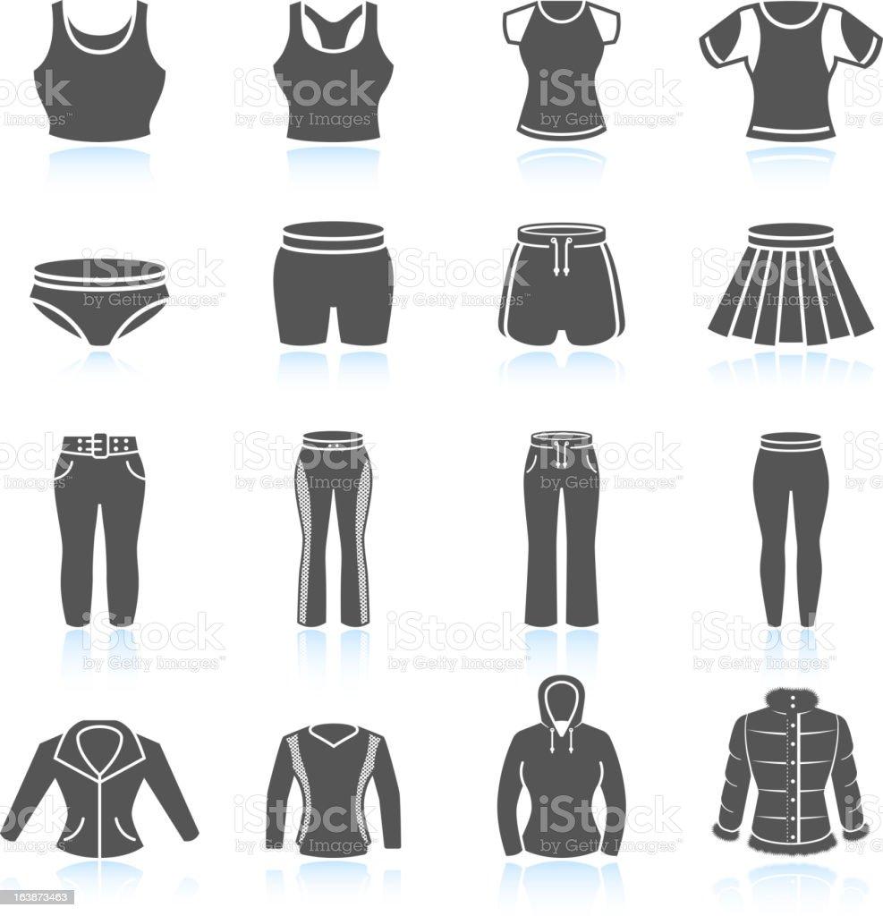 Women's sport Kleidung und outfits & weißen icon-set Schwarz – Vektorgrafik